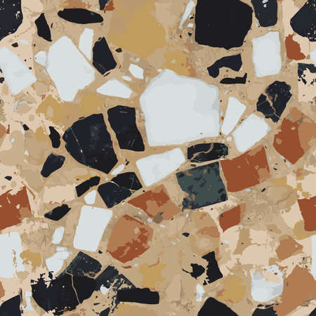 Terrazzo vector seamless pattern in modern, trend colors.