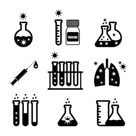 Virus test tubes vector icons, lab flask and COVID symbols isolated.