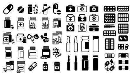 Medical pills icons, vaccine and drugs symbols, pharmacy signs. Ilustração