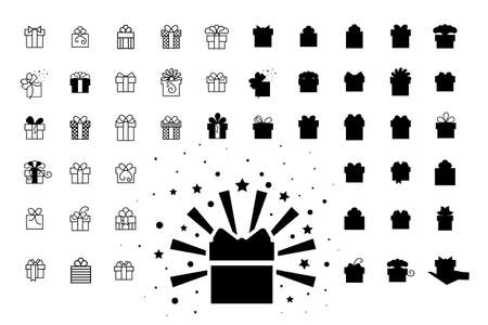 Set of Gift Boxes with Bows or Present Vector Icons Isolated.