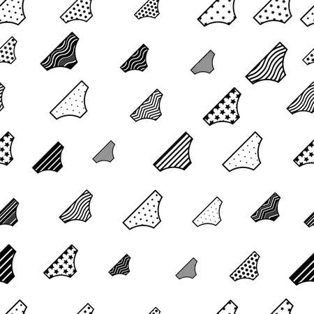 Woman pantie seamless pattern. Striped and dotted lingerie signs endless background Illustration