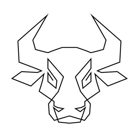 One Line Drawing Bull Icon. Continuous Line Draw Ox Silhouette in Sketch Art Style, Wild Cattle Symbol, Bovine Single Outline Vector Illustration