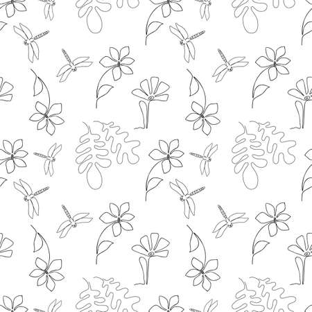 One line drawing dragonfly and flower seamless pattern. Sketch art style texture endless background, single outline flowers vector tile for fabric, wrapping endless design 向量圖像
