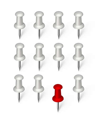 Different in crowd, being different or different thinking concept. Unique, stand out from the crowd, one in group vector illustration with white and red pushpins or office attach buttons