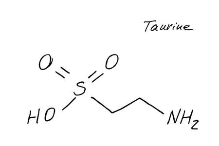 Taurine molecule formula. Hand drawn imitation of 2-aminoethanesulfonic acid structural model, C2H7NO3S chemistry skeletal formula, sketchy vector symbol Ilustração Vetorial