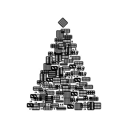 Christmas Tree Shape Made of Medical Pills Icons. Pharmacy Signs and Xmas Spruce Silhouette, New Year Medicine Drugs Concept