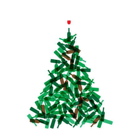 Christmas Tree Shape Made of Wine Bottles. Vine Bottle Xmas Spruce Silhouette