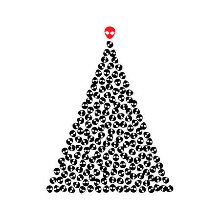 Christmas Tree Shape Made of Extraterrestrial Icons. Xmas Spruce Silhouette and Alien Faces, Congratulations to Ufologists, I Want to Believe Greeting Card Concept