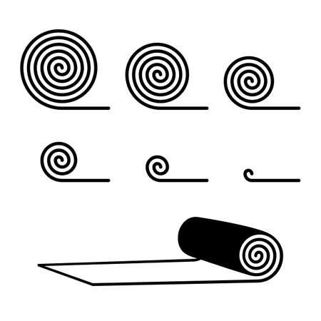 Rolled carpet line icons collection. Carpeting vector signs, mat spiral roll symbols, floor covering silhouettes, doormat graphic elements. Minimal rug buttons or pictograms set