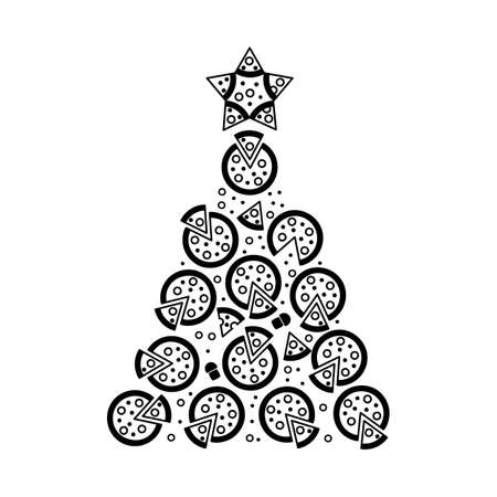 Christmas Tree Shape Made of Round Pizza Icons. Pizzeria and Xmas Spruce Silhouette 일러스트