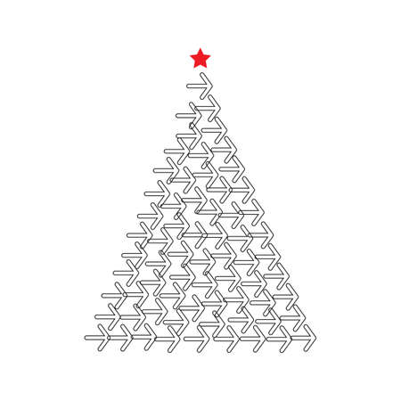 Christmas Tree Shape Made of Arrow Icons. Xmas Spruce Silhouette and Arrows, Arrowheads, Pointers 일러스트