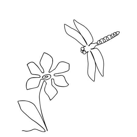 One Line Drawing Dragonfly Icon or Odonata in Sketch Art Style. Flower Continuous Line Draw, Damselflies Single Outline Vector Illustration
