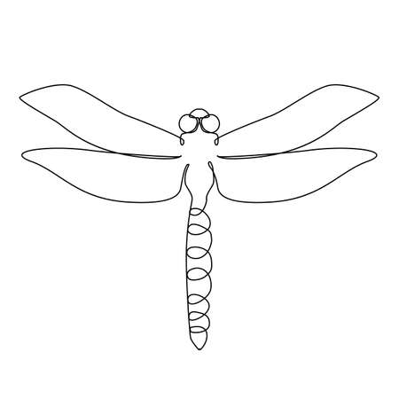 One Line Drawing Dragonfly Icon. Odonata in Sketch Art Style, Continuous Line Draw Animal, Damselflies Single Outline Vector Illustration