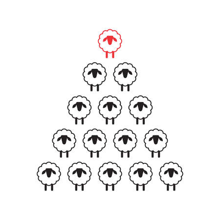 Christmas Tree Shape Made of Sheeps Icons. Xmas Spruce Silhouette and Flock of Sheep, Congratulations to Farmer Concept