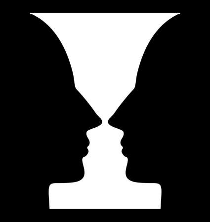 Optical illusion with vase and face profile silhouettes. Gestalt psychology test identifying goblet figure or human profile from background
