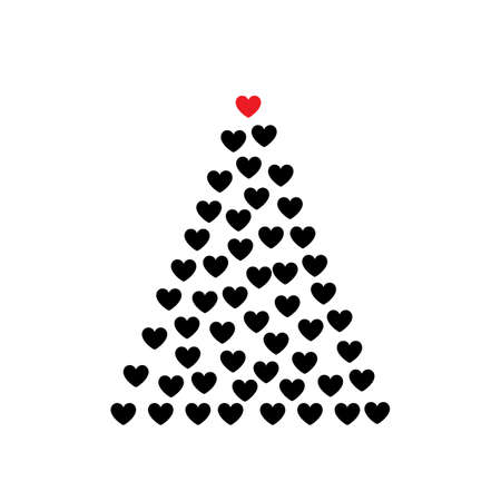 Christmas Tree Shape Made of Heart Icons. Hearts Love Signs and Xmas Spruce Silhouette, New Year Passion Concept 일러스트