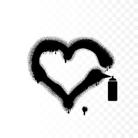 Realistic graffiti heart vector icon. Love shape symbol made of aerosol blots, stains and dots. Grunge heart silhouette 일러스트