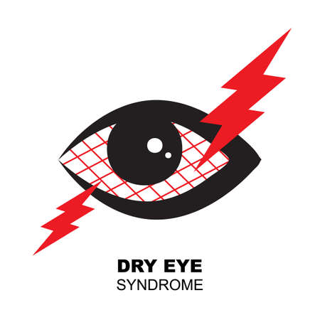 Dry eye syndrome icon. Tired sleepy eye symbol, ophthalmologist vector illustration isolated on white background