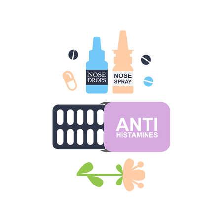 Antihistamine pills icon. Anti histamine tablets, anti allergy medicine symbol, sign, silhouette Illusztráció