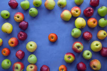 Apple on blue background photo