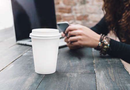 freelance: Freelance workplace with laptop and coffee Stock Photo