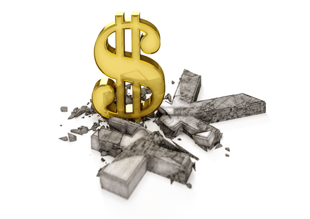 decline in values: 3D concrete Yen symbol destroyed by gold Dollar sign. Exchange rate of Japan Yen is fall.