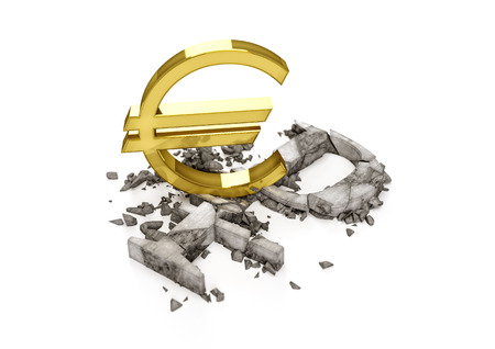 3D concrete Ruble symbol destroyed by gold Euro sign. Exchange rate of Russian ruble is fall.