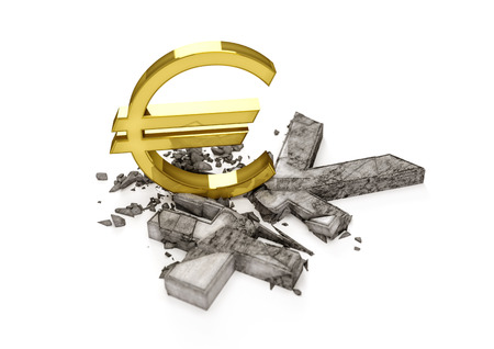 3D concrete Yen symbol destroyed by gold Euro sign. Exchange rate of Japan Yen is fall.