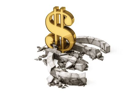 decline in values: 3D concrete Euro symbol destroyed by gold Dollar sign. Exchange rate of Euro is fall. Stock Photo