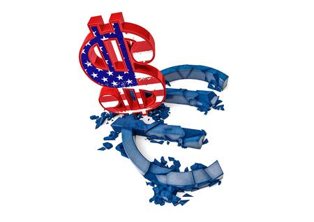 3d Concrete Euro Symbol Destroyed By Color Dollar Sign Exchange