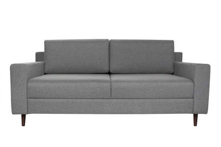 Modern grey fabric sofa isolated on white background. Strict style furniture