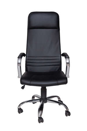 fauteuil en cuir noir isolé sur fond blanc. Vue de face