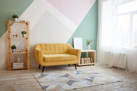 Nice living room with couch, carpet, green plant on a bookcase and a copy space.