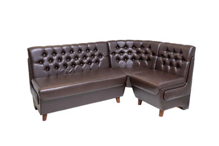 single brown leather office sofa isolated on white background. modern furniture