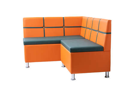 orange and green leather office sofa with metal chrome legs isolated on white