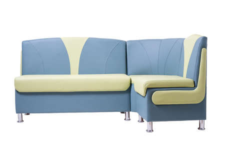 blue and green leather office sofa with metal chrome legs isolated on white Foto de archivo