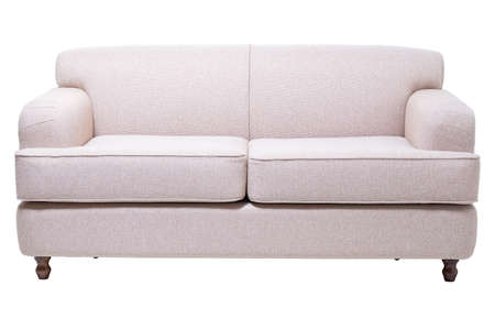 modern grey fabric sofa isolated on white, front view. contemporary couch