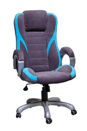 Grey fabric office chair with blue stripes, wheels isolated on white background