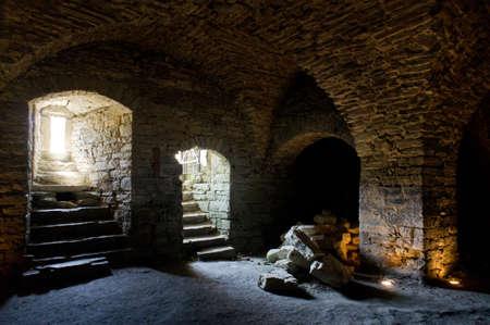 Fortress built from limestone. The old Maasi stone castle ruins. Orissaare, Saaremaa, Estonia, Europe