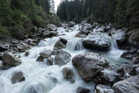 �tztal Valley mountain river. Wellerbrück. �tztaler Ache, Oetz, Austria, Europe Stock Photo