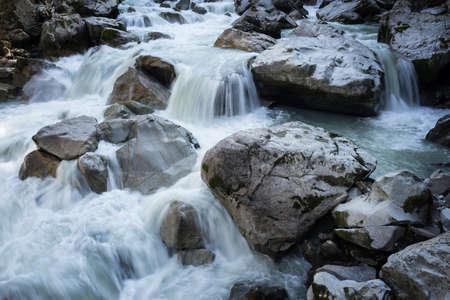 alpen: �tztal Valley mountain river. Wellerbrück. �tztaler Ache, Oetz, Austria, Europe Stock Photo
