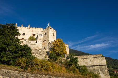 Castel Coira. Castle on the hill landscape. Schluderns, Vinschgau Valley, Alto Adige, Italy