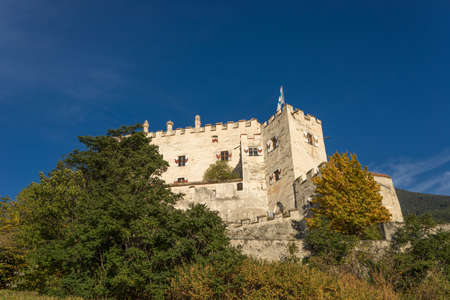 Castel Coira. Castle on the hill landscape. Schluderns, Vinschgau Valley, Alto Adige, Italy
