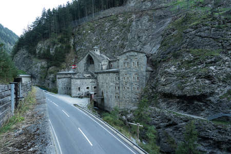Fortress Strassensperre Nauders is built in to the rock, Austria, Tyrol, Europe Editorial
