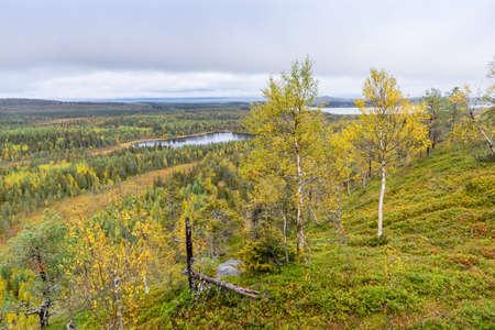 Berge, Wälder, Seeblick im Herbst. Herbstfarben - Ruska-Zeit in Konttainen. Ein Teil des Karhunkierros Trails. Nationalpark in Finnland. Lappland, nordische Länder in Europa Standard-Bild