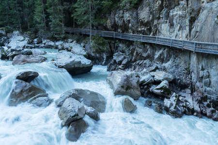Ötztal Valley mountain river. Wellerbrück. Ötztaler Ache, Oetz, Austria, Europe Stock Photo