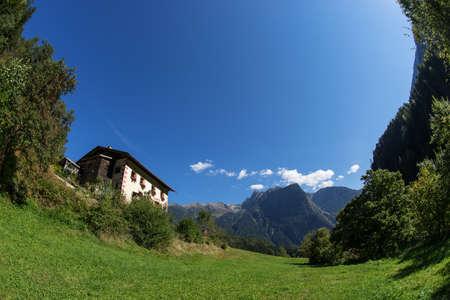Landscape protection area Achstürze. Lake Piburger See, Tirol oldest nature preserves. Oetz alps, unique cultural mountains landscape, alps in the background. Ötztal valley.