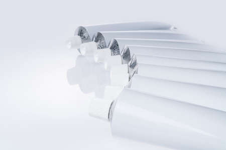 Close up of aluminum tube isolated on white background. Cosmetic or medicine gel. Stock fotó - 133246930