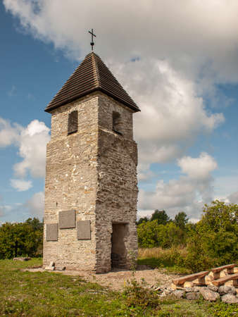 Stone wall on the Baltic sea in the summer. Pakri coast, island in Estonia, Europe.