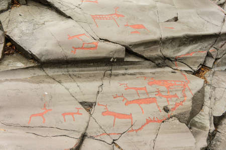 Rock art in Alta Fjord, Norway. Ancient symbols, real drawing,  texture in stone. Red ocher paint. Human preys on animals deer.  Group of petroglyphs, dating from c. 4200 to 500 B.C. Stock Photo - 133405364